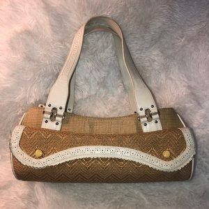 Cole Haan arm handbag beige white leather satchel